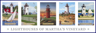 Click to go to LIGHTHOUSES OF MARTHA'S VINEYARD print on MASS. LIGHTHOUSE COLLECTION page.